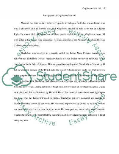 Guglielmo Marconi Paper essay example