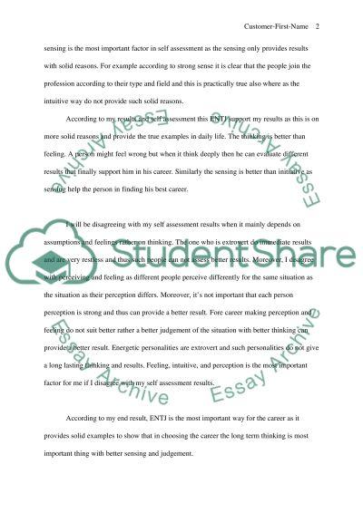 Self Assessment essay example