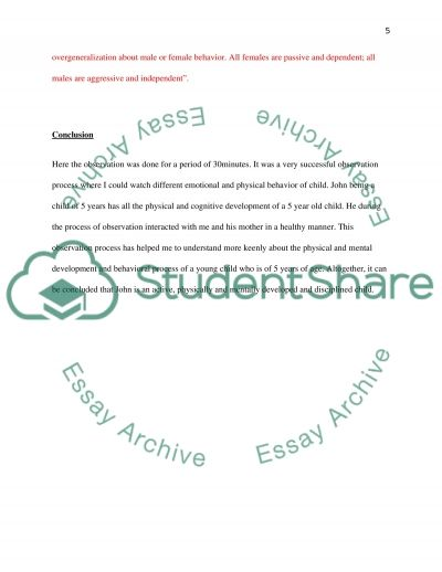 child observation assignment example