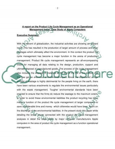 Operational managment report on apple company Essay example