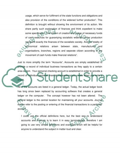 Accounting and Finance Assignment essay example