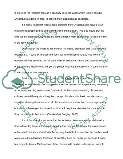 Dyscalculia Essay example