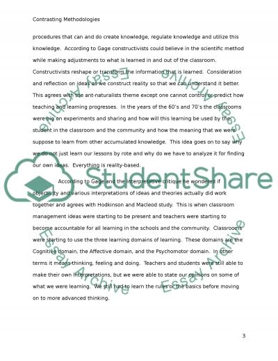 Contrasting concepts of learning and contrasting methodologies: E891 TMA2 essay example