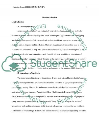 What motivational factors facilitate or hinder student performance in the process of EFL learning essay example