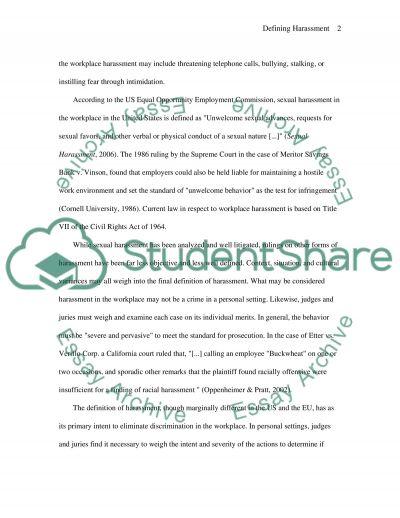 Harassment essay example