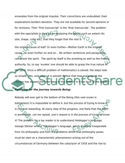 Heidegger Being and Time essay example