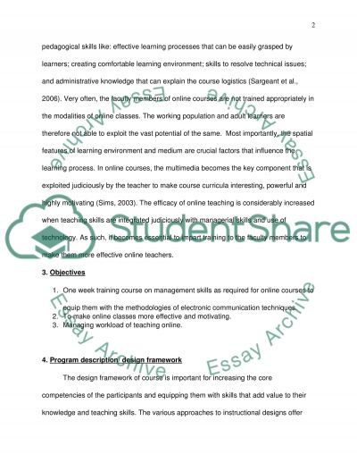 Proposal - short online course to training the faculty member how they can manage their online class essay example