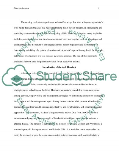 Written Evaluation of a Patient Education Tool for an adult with an acute or chronic alteration in health status essay example