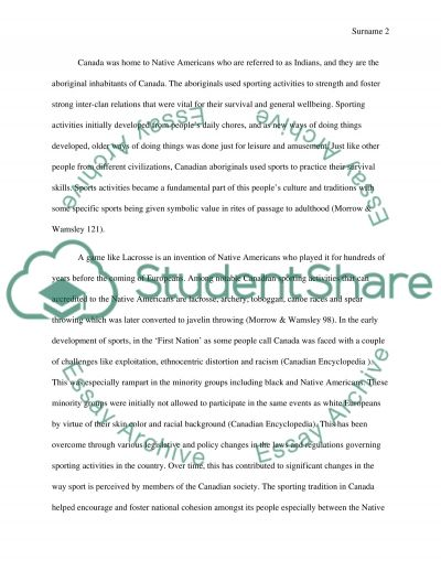 Sports in canada essay example