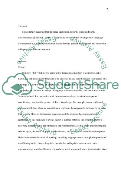 The Theories Of Language Acquisition essay example