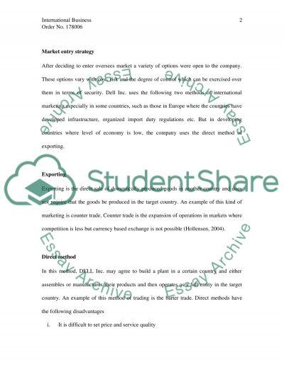 International Business - International Market essay example