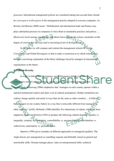 Compare and contrast the management schools of Global Convergence and Global Divergence essay example