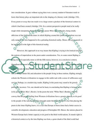 Book analysis-Rudyard Kiplings poem, White Mans Burden and George Orwells essay, Shooting an Elephant