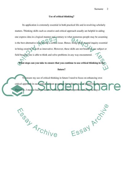Critical Thinking Reflection Essay Example  Topics And Well Written  Critical Thinking Reflection Argumentative Essay Thesis Example also Descriptive Essay Thesis  Chemistry Websites