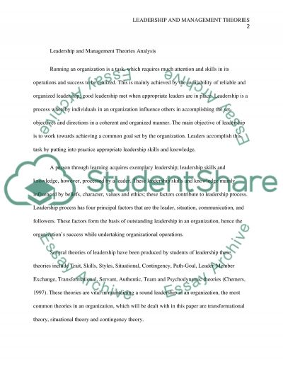 Leadership and Management Theories Analysis essay example