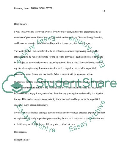 What To Write In A Scholarship Thank You Letter from studentshare.org