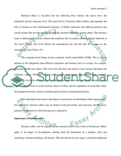 Business ethics Research Paper Example | Topics and Well