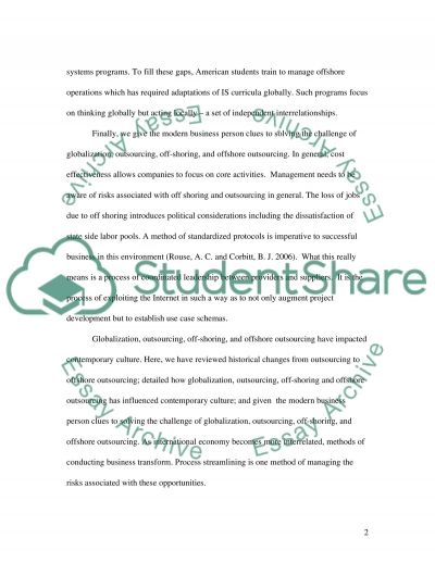 Globalization, Outsourcing, Off-shoring, and Offshore Outsourcing Impact on Culture essay example