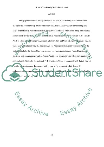 Role of the Family Nurse Practitioner essay example