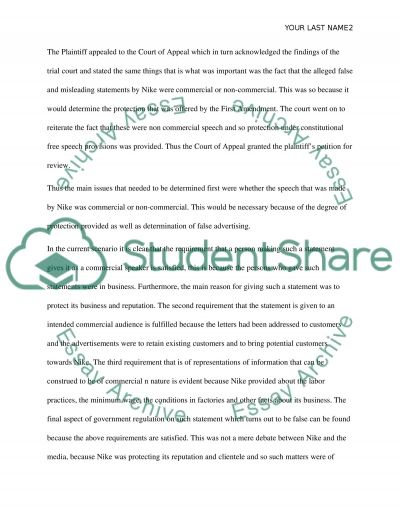 Business Law - Nike v. Kasky essay example