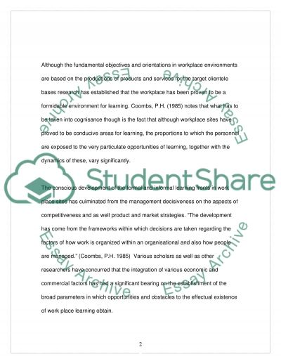 Workplace Learning essay example