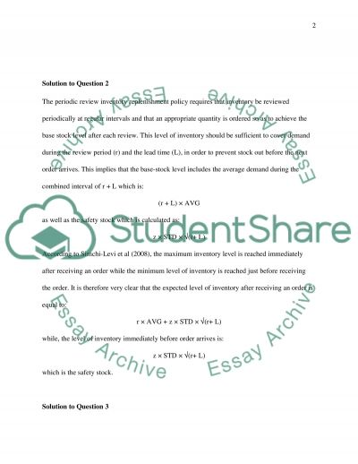 Demand and Stores essay example