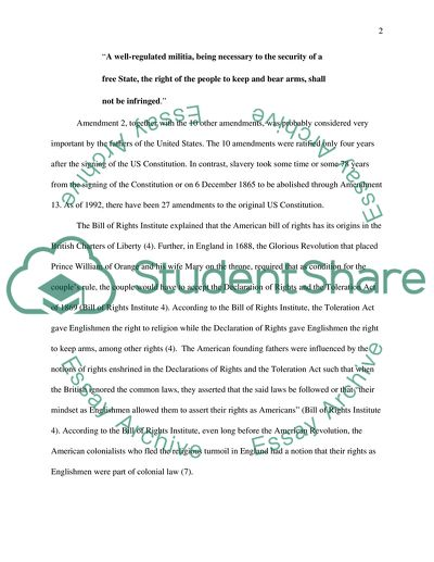 Essay On High School Experience Nd Amendment  The Right To Bare Arms Us Constitution What Is A Thesis Of An Essay also Science And Society Essay Nd Amendment  The Right To Bare Arms Us Constitution Research Paper Example Essay Thesis Statement