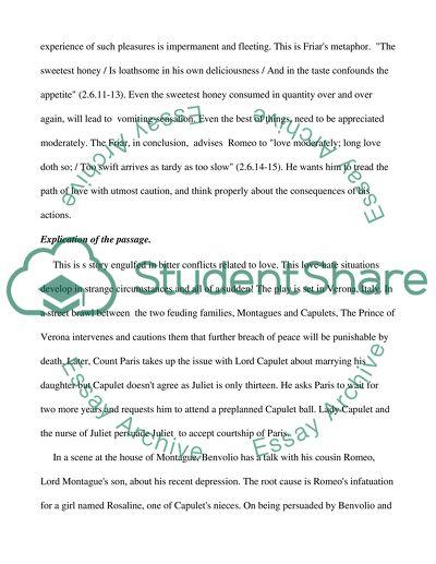 Explication of Shakespeare Passage