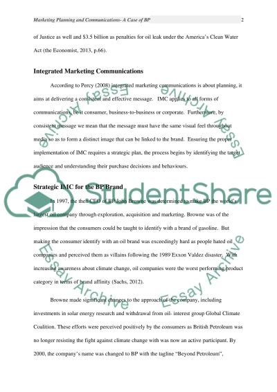 Marketing Planning and Communications essay example