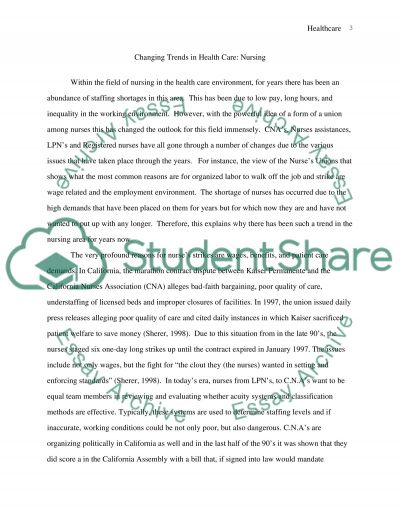 Changing Trends in Healthcare: Nursing essay example