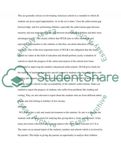 Education Administration No Child Left Behind essay example