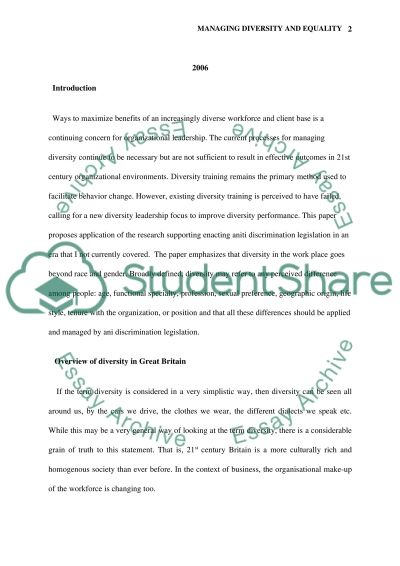 Managing Diversity and Equality Master Assignment essay example