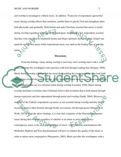 Effect of music during worship sevice essay example