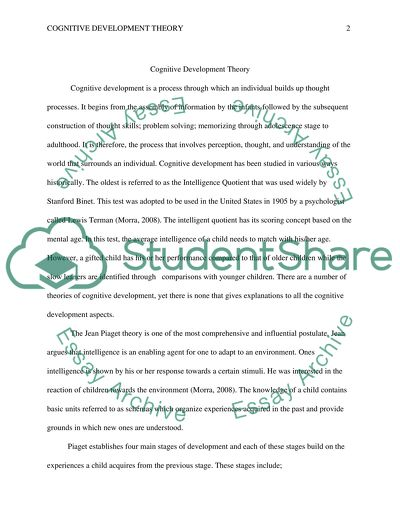 Cognitive Development Theory Essay Example  Topics And Well Written  Cognitive Development Theory  Essay Example Essay Proposal Sample also Healthy Eating Habits Essay  Ghostwriter Review