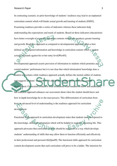 Developing curriculum content