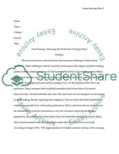 Case Summary essay example