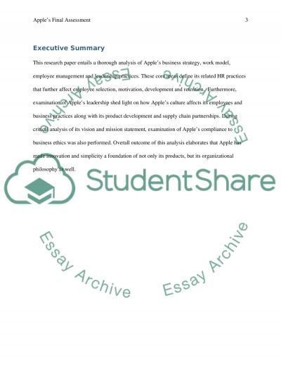 Final Assessment of Apple Inc essay example