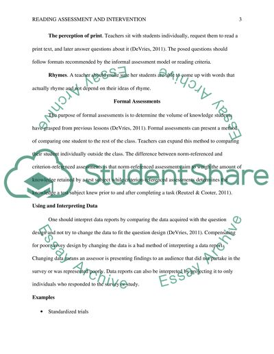 Foundations of Reading Assessment and Intervention Research Paper