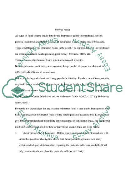 Internet Crimes Essay Example  Topics And Well Written Essays  Internet Crimes