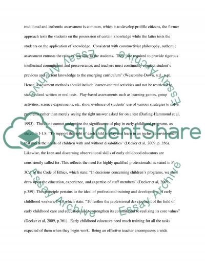 Early Childhood Educator and NAEYC Code of ethics essay example