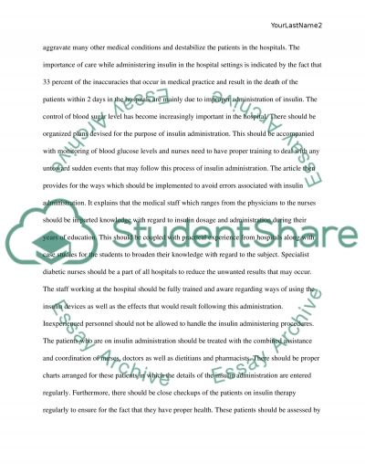 Insulin administration essay example
