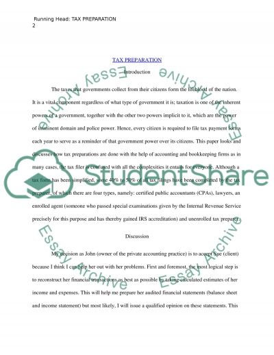 Tax Preperation Essay Essay example