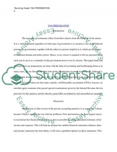 Tax Preperation Essay essay example
