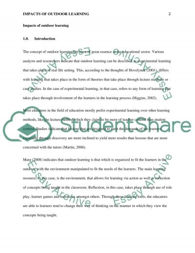 Impacts of Outdoor Learning essay example