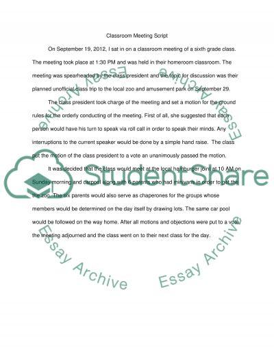 Classroom Meeting Script