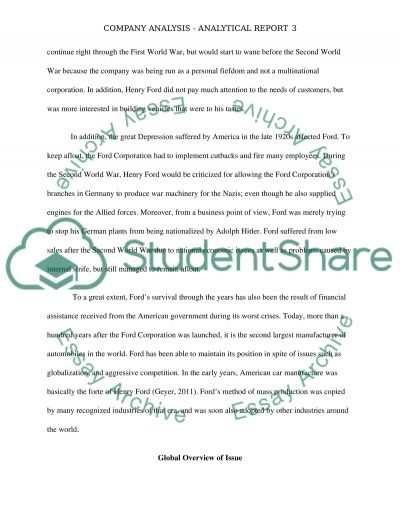 Analytical Report Essay example