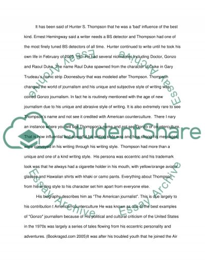 Hunter S. Thompson and American Counter culture essay example
