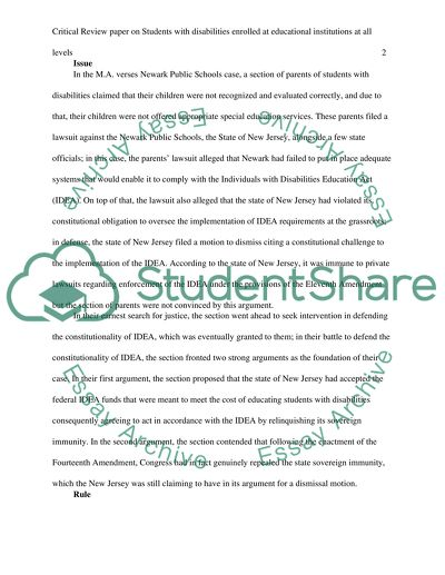 Write a Critical Review paper on Students with disabilities enrolled at educational institutions at all levels