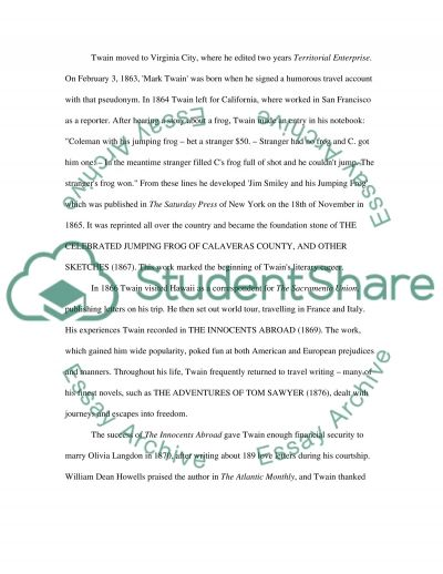 Critical Research Paper (Mark Twain) essay example