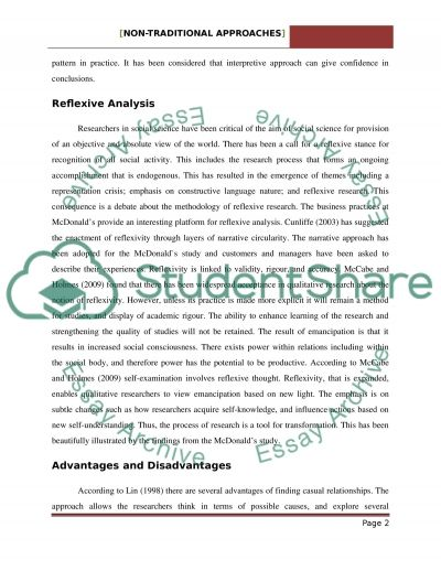 Non_Traditional Approach essay example